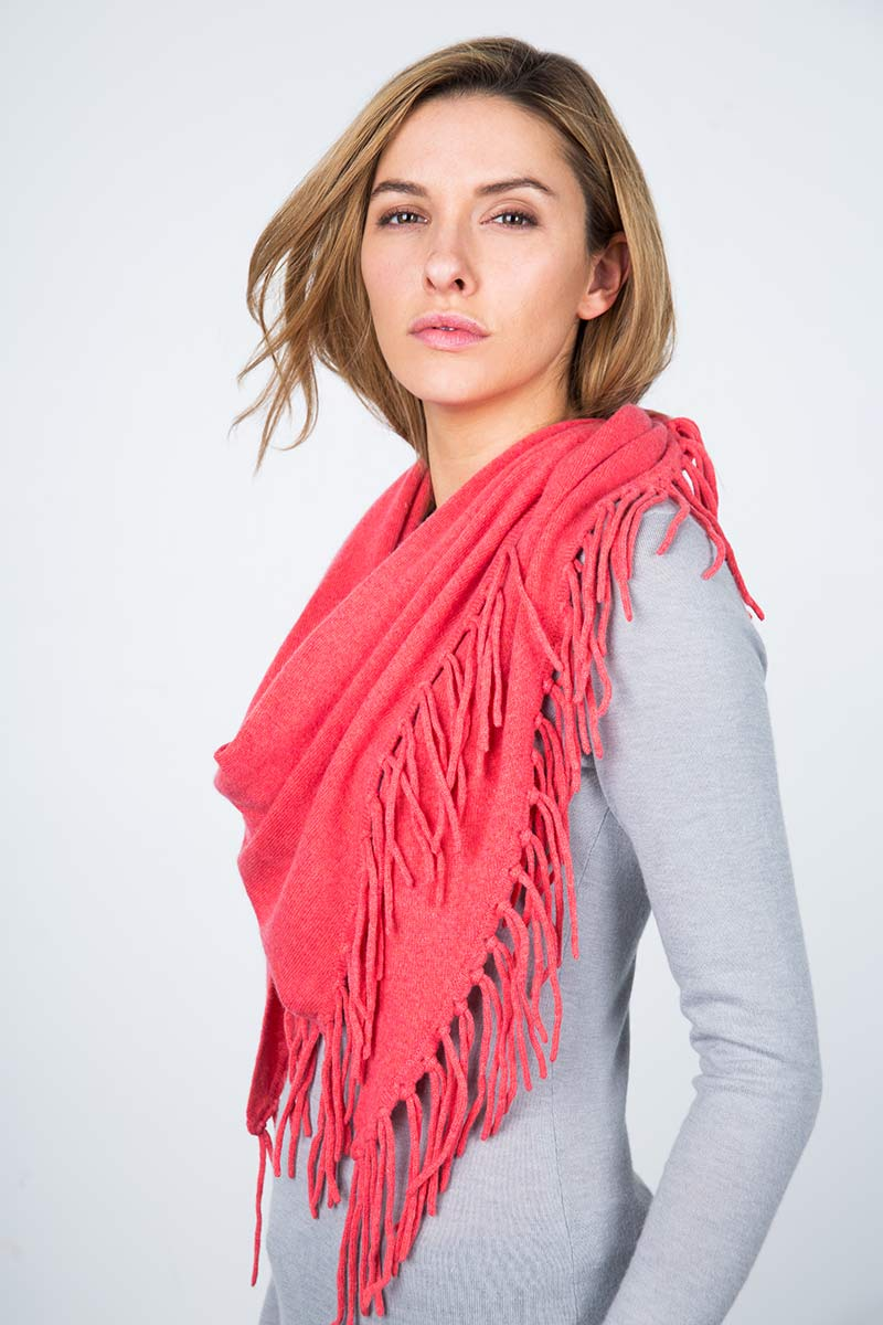 Fringe Triangle Scarf - Coral Rose Kinross Cashmere
