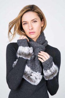 Fur Trim Texting Cashmere Gloves Kinross Cashmere