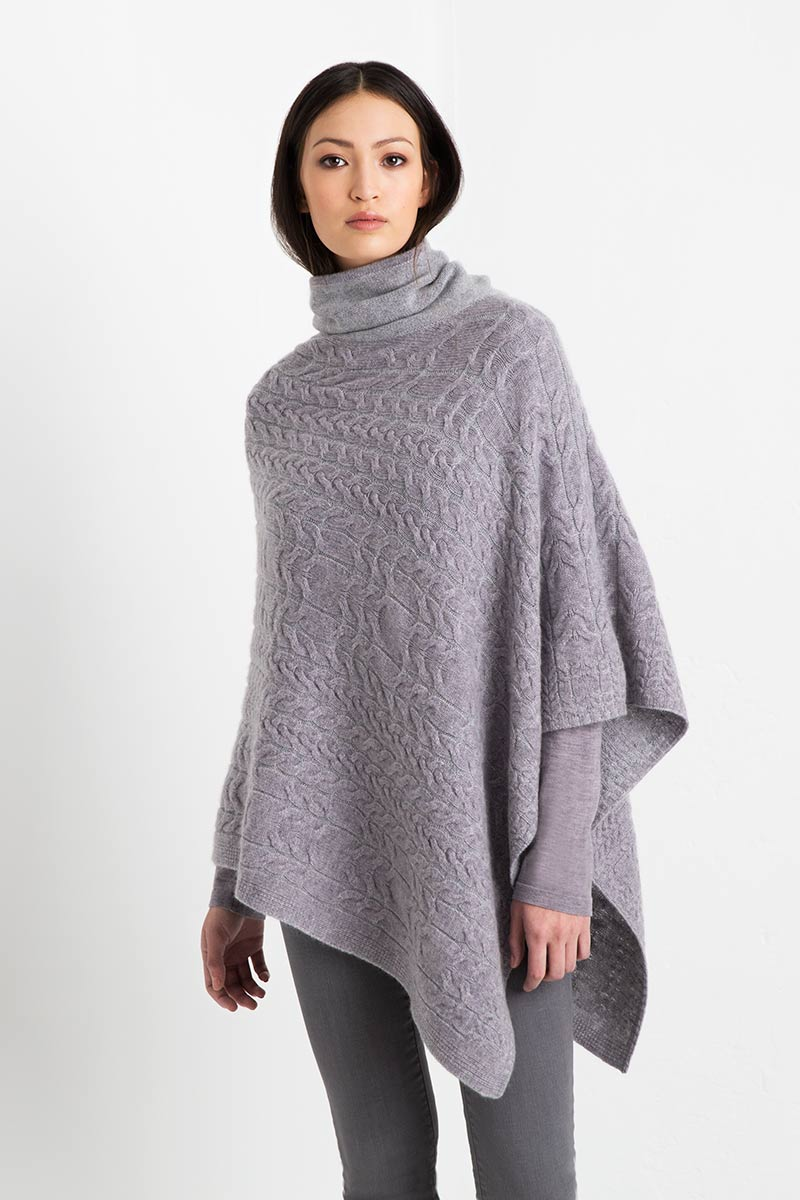 Plaited Cable Poncho Kinross Cashmere