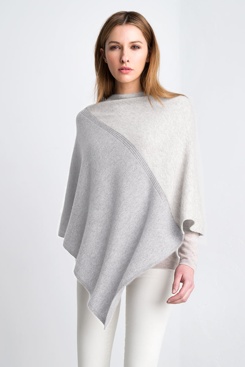 Colorblock Poncho - Driftwood / Limestone Kinross Cashmere 100% Cashmere