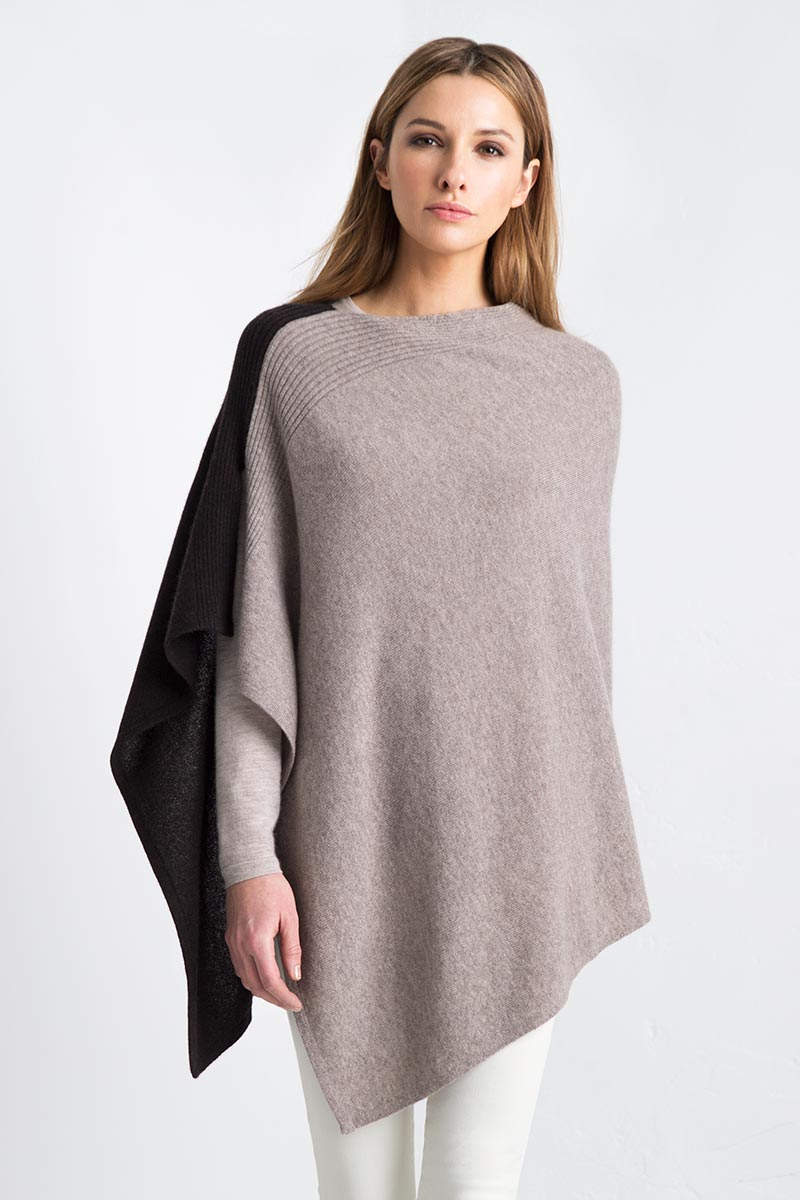 Front Back Contrast Poncho Kinross Cashmere 100% Cashmere