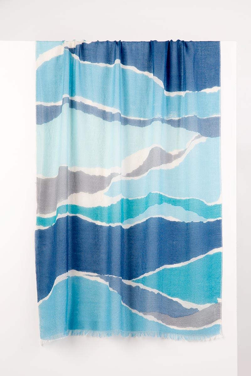 Colorblock Spray Print Scarf - Shadow Multi Kinross Cashmere 100% Cashmere