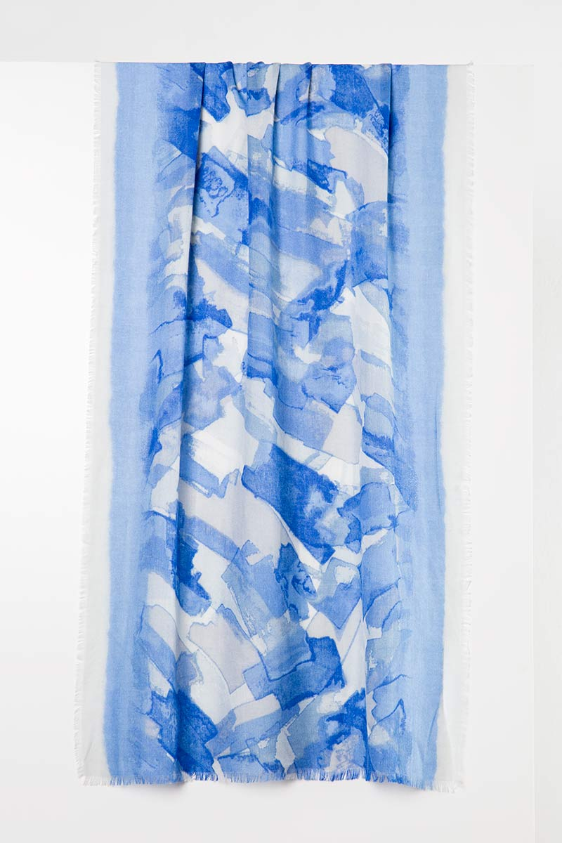 Printed Stripe Scarf - Sterling Kinross Cashmere