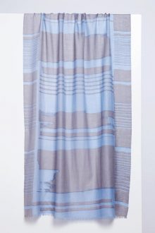 Linear Brushwork Print Scarf - Arctic - Kinross Cashmere