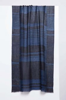 Linear Brushwork Print Scarf - Inkwell - Kinross Cashmere