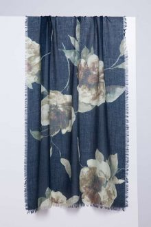 Autumn Bloom Print Scarf - Honey - Kinross Cashmere