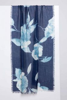 Autumn Bloom Print Scarf - Inkwell - Kinross Cashmere