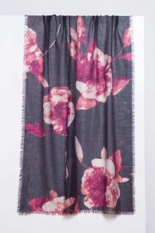 Autumn Bloom Print Scarf - Lingonberry - Kinross Cashmere