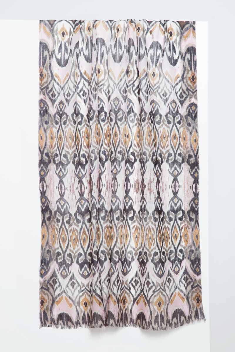 Tapestry Ikat Print Scarf - Ballet Slipper - Kinross Cashmere