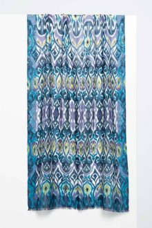 Tapestry Ikat Print Scarf - Balsam - Kinross Cashmere