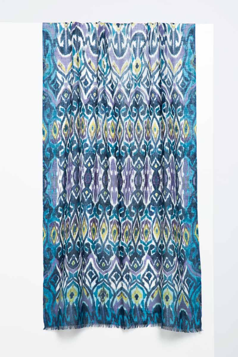 Tapestry Ikat Print Scarf - Balsam - Kinross Cashmere
