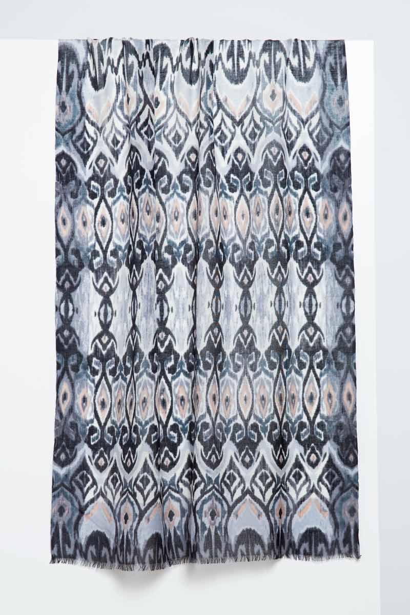 Tapestry Ikat Print Scarf - Black - Kinross Cashmere
