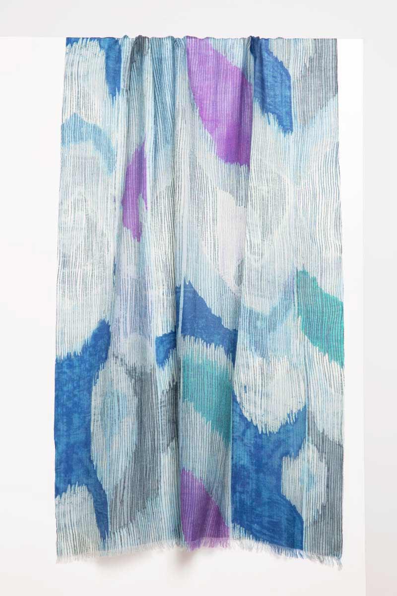 Etched Ikat Print Scarf - Aquamarine - Kinross Cashmere