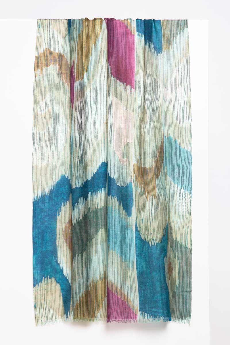 Etched Ikat Print Scarf - Balsam - Kinross Cashmere