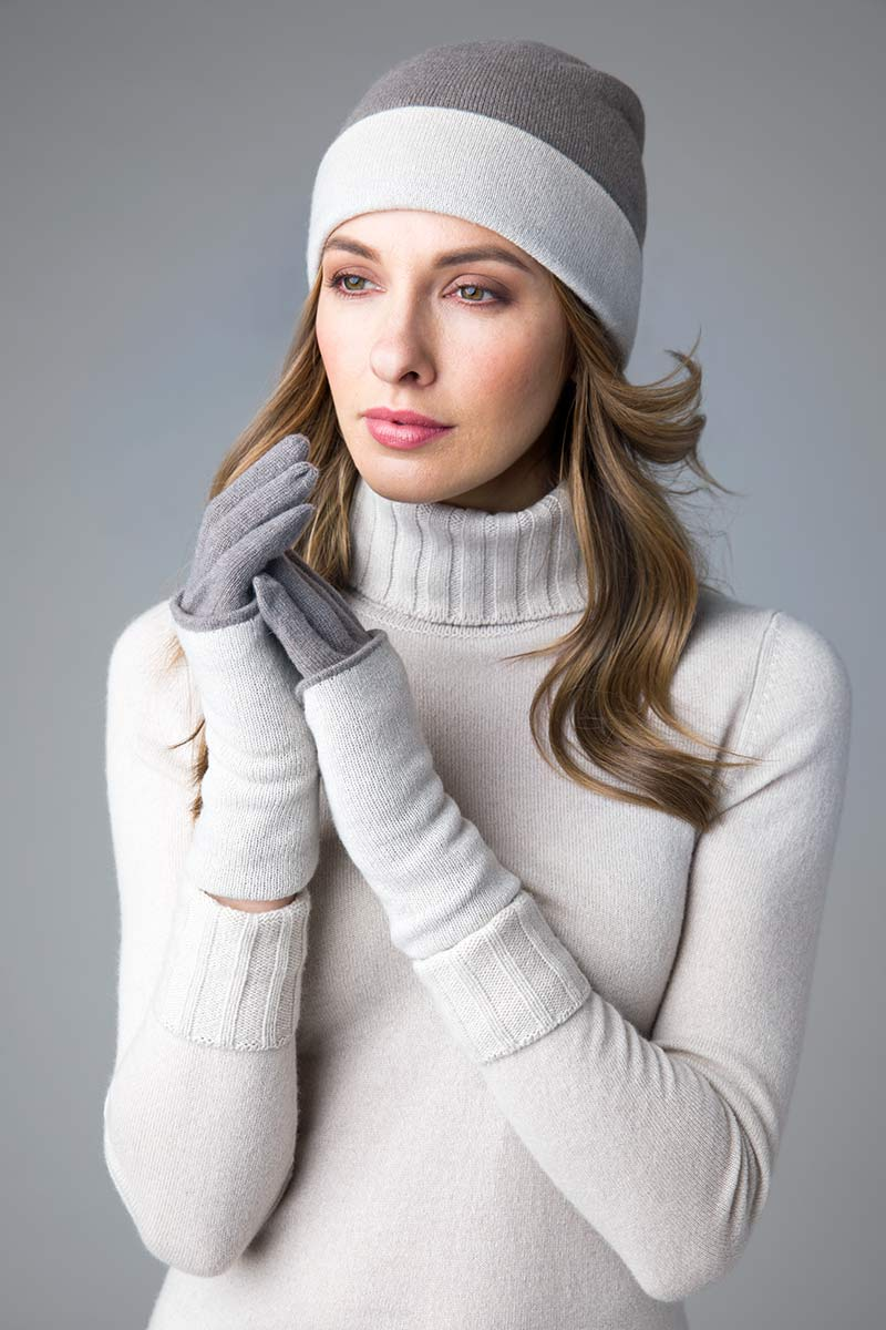 Reversible Colorblock Hat & Gloves - Kinross Cashmere