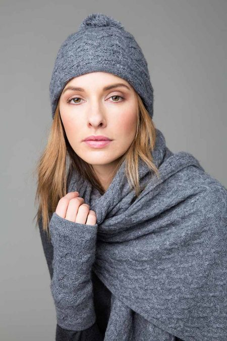 Cable Hat, Scarf, Fingerless Gloves - Kinross Cashmere