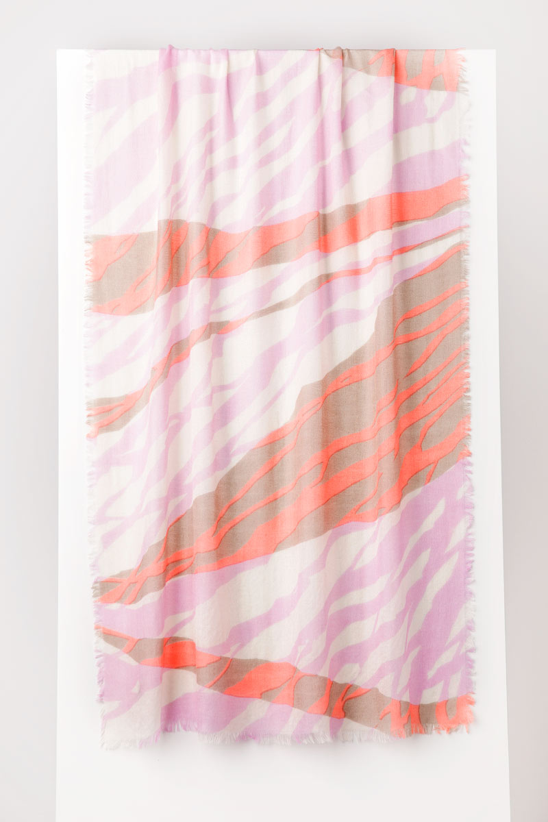 Tidal Print Scarf - Nectar Multi - Kinross Cashmere