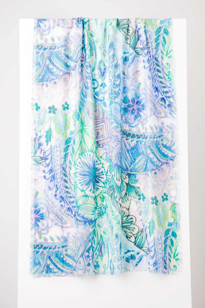 Watercolor Paisley Print Scarf- Kinross Cashmere
