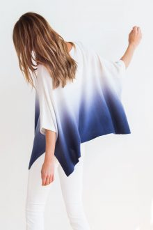 Ombre Poncho Kinross Cashmere 100% Cashmere