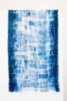Waterfall Print Scarf - Black Multi Kinross Cashmere 100% Cashmere