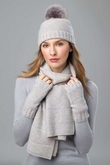 Plaited Hat, Scarf, and Fingerless Gloves- Kinross Cashmere