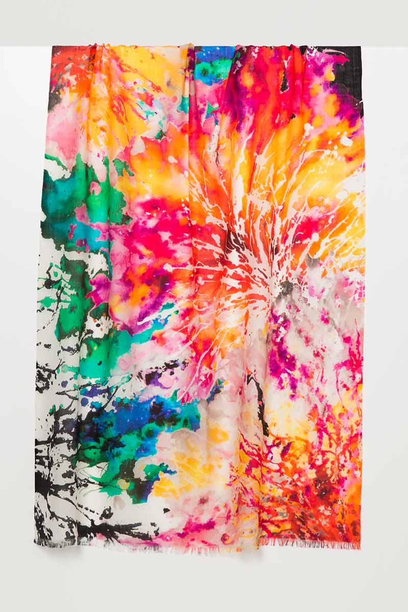 Splash Floral Print Scarf - Kinross Cashmere