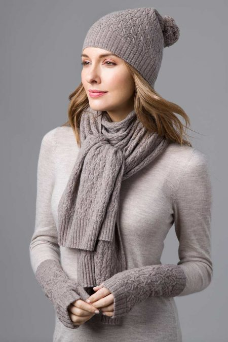 Cable Hat, Scarf, and Fingerless Gloves- Kinross Cashmere