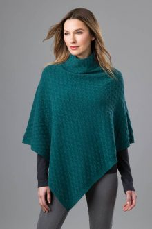 Cable T-neck Poncho - Kinross Cashmere