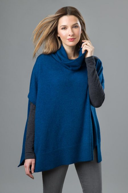 T-neck Poncho - Kinross Cashmere