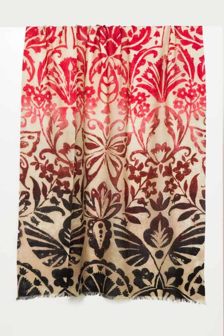 Weathered Botanical Print Scarf - Kinross Cashmere