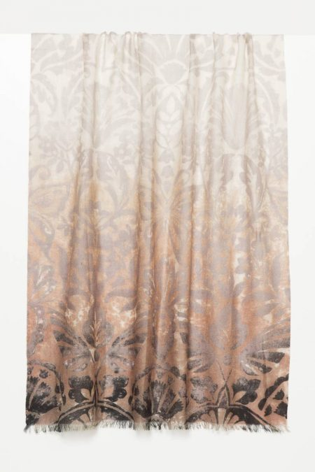 Weathered Botanical Print Scarf - Kinross Cashmere