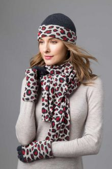 Animal Print Hat, Gloves, and Scarf