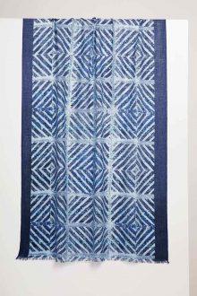 Mediterranean Tile Print Scarf - Adriatic - Kinross Cashmere