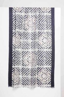 Mediterranean Tile Print Scarf - Black - Kinross Cashmere