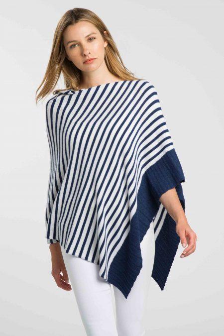 Texture Stripe Poncho - Kinross Cashmere
