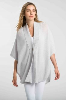 Ribbed Button Ruana - Kinross Cashmere