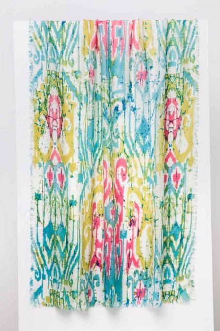 Batikat Print Scarf - Lagoon - Kinross Cashmere