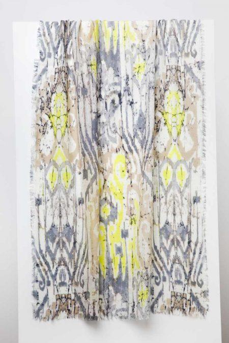 Batikat Print Scarf - Seagull - Kinross Cashmere