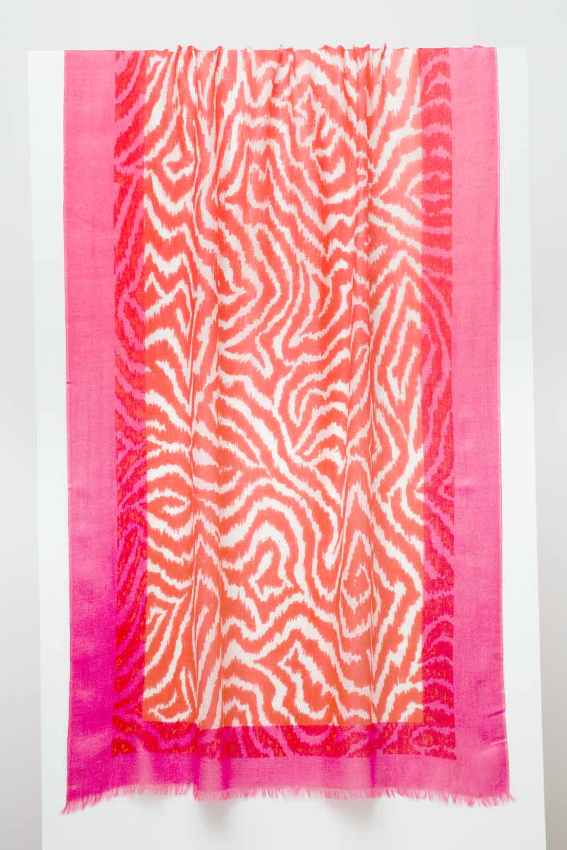 Faux Bois Print Scarf - Coral