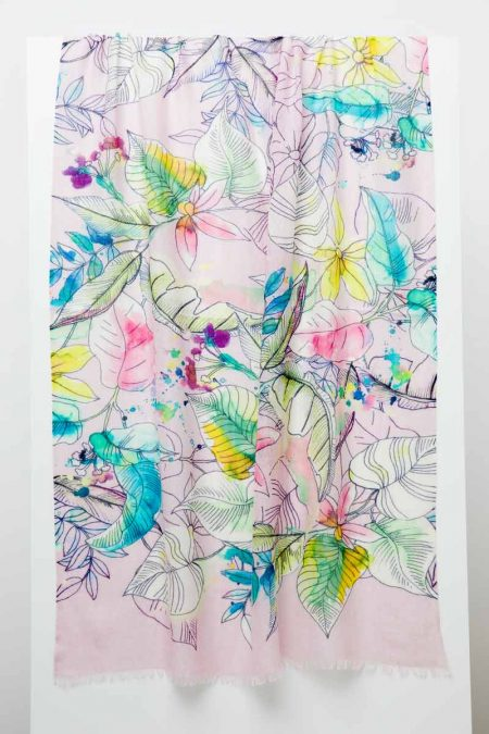 Tinted Floral Print Scarf - Kinross Cashmere
