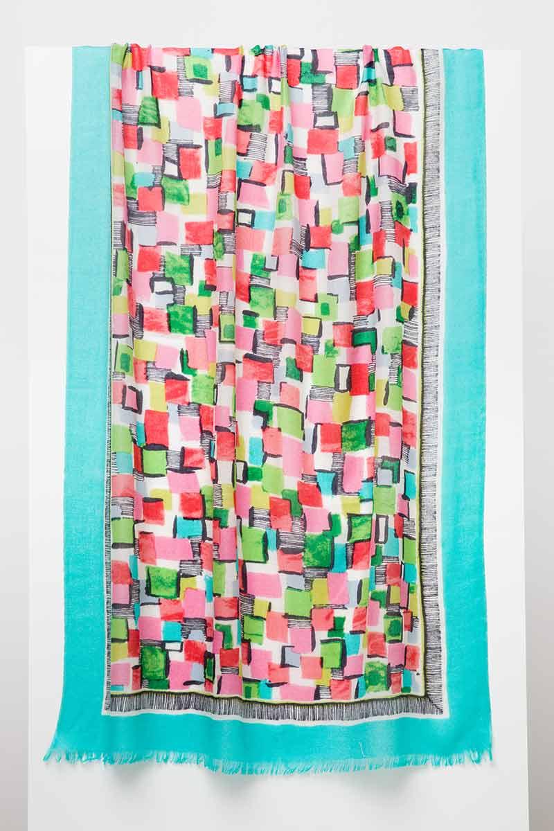 Pop Squares Print Scarf - Lagoon Multi