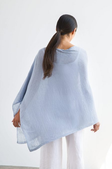 Linen Solid Poncho - Kinross Cashmere