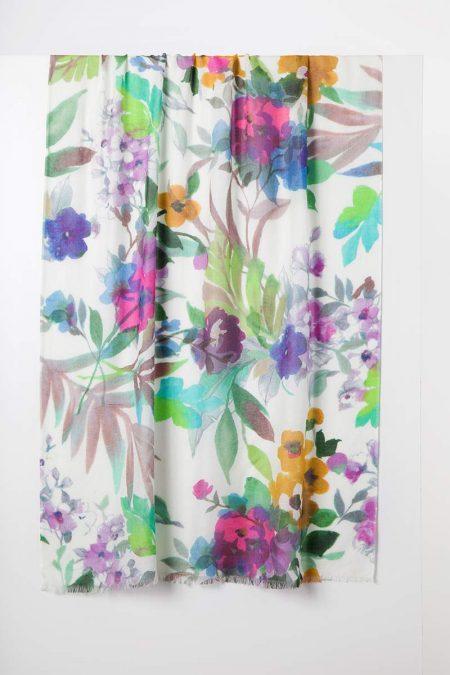 Fresh Cut Floral Print Scarf - Kinross Cashmere