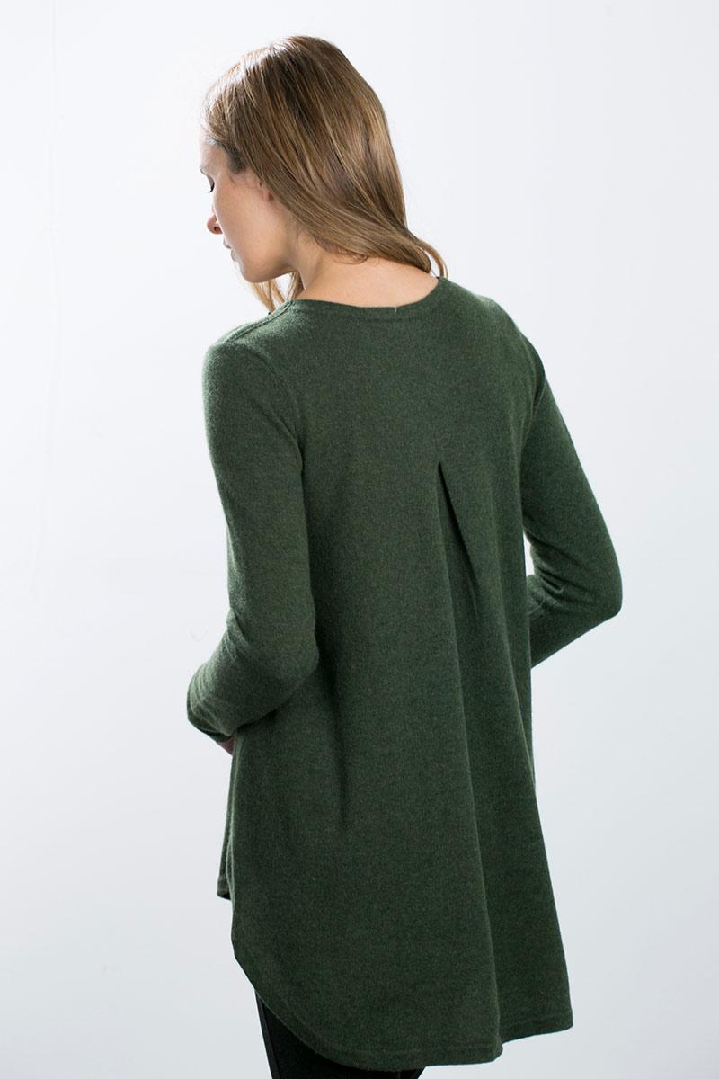 Kinross Cashmere   Pleat Back Tunic w/ Zip Shoulder