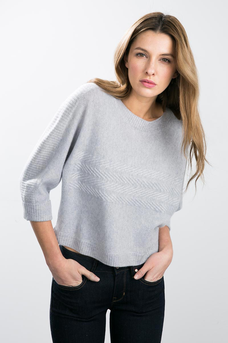 Kinross Cashmere | Dolman Boatneck w/ Cable Detail