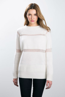 Kinross Cashmere | Mixed Stitch Funnel Neck with Mohair