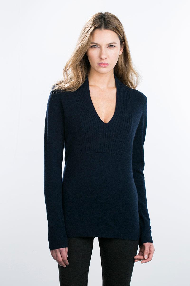 Kinross Cashmere   Deep V-Neck Pullover
