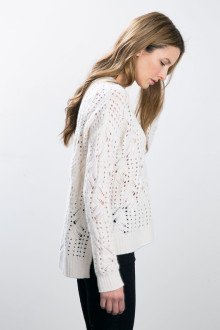 Kinross Cashmere | Pointelle Cable Hi Low Pullover