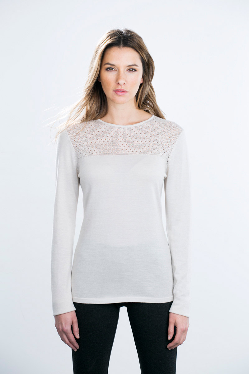 Kinross Cashmere | Placed Pointelle Pullover