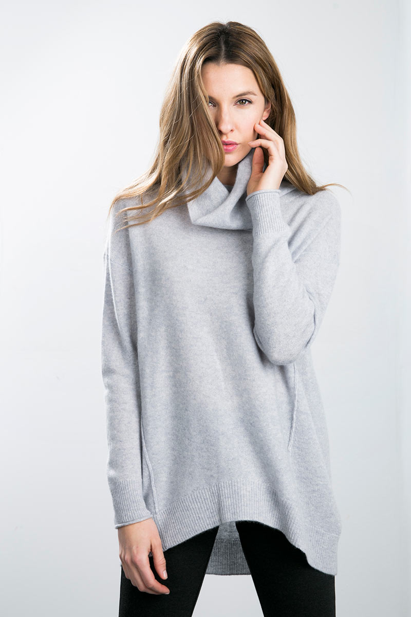 Kinross Cashmere | Exposed Seam Oversized Cowl Neck